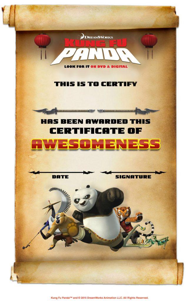 Free Printable Kung Fu Panda Certificate of Awesomeness | Mama Likes ...