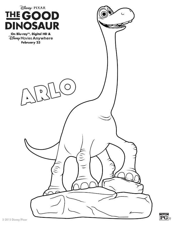 Disney The Good Dinosaur Arlo Coloring Page | Mama Likes This