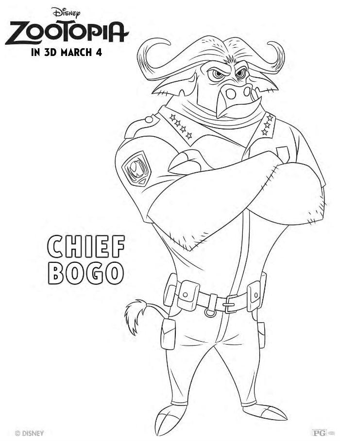 Disney Coloring Pages Zootopia : Free disney zootopia chief bogo coloring page mama likes