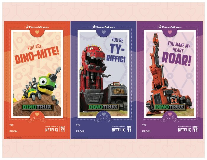 Free Printable Dinotrux Valentines Day Cards