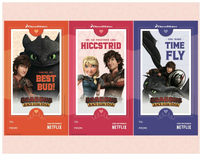 Free Printable Dragons Valentines Day Cards - How to Train Your Dragon
