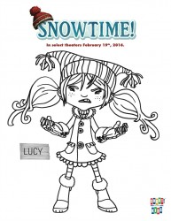 Free Snowtime Printable Lucy Coloring Page