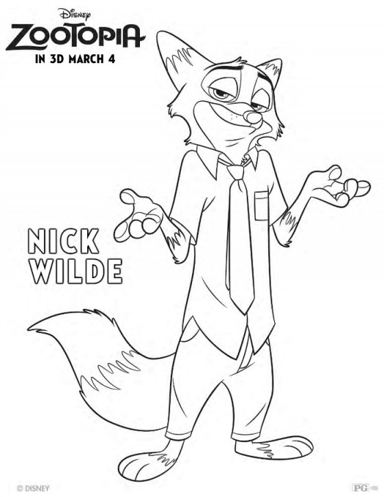 Free Disney Zootopia Nick Wilde Coloring Page