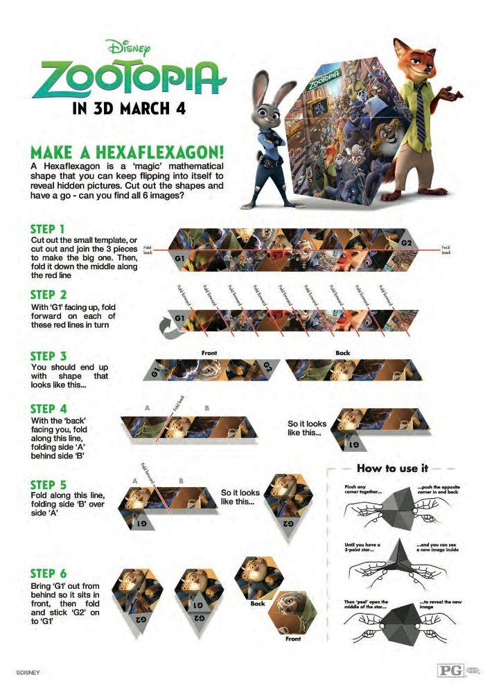 Disney Zootopia Hexaflexagon Printable Craft