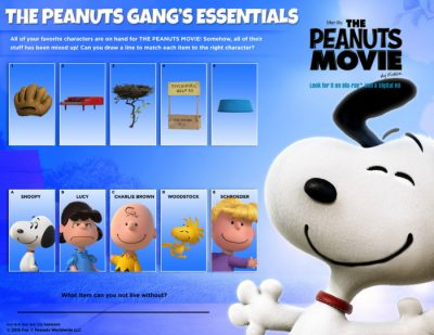 Peanuts Printable Matching Activity Page