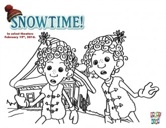 Free Snowtime Printable Twins Coloring Page
