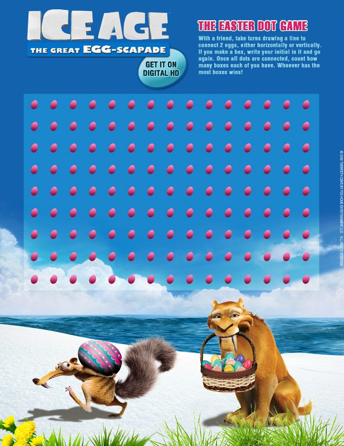 Ice Age Printable Dot Game for Easter