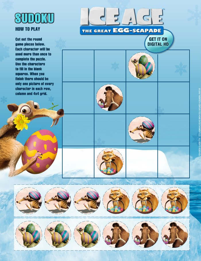Free Ice Age Easter Sudoku Puzzle