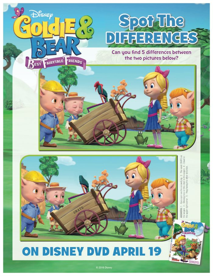 Disney Goldie & Bear Spot The Differences Activity Page