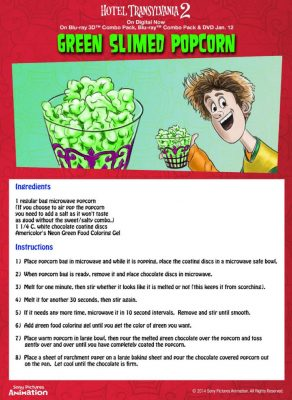 Hotel Transylvania Green Slimed Popcorn Recipe