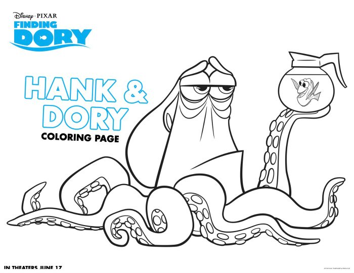 Disney Finding Dory Printable Hank and Dory Coloring Page