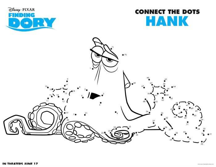 Disney Finding Dory Hank Connect The Dots Coloring Page