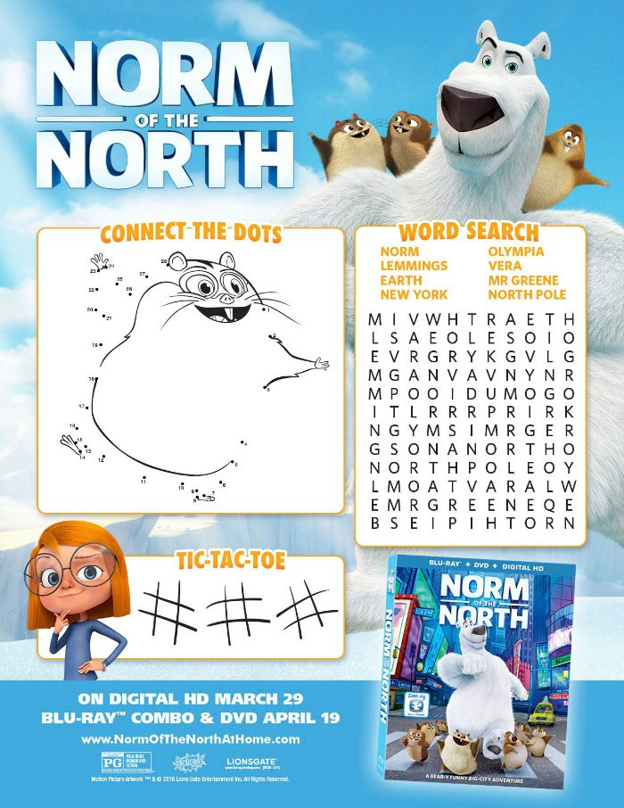 Norm of The North Printable Activity Page