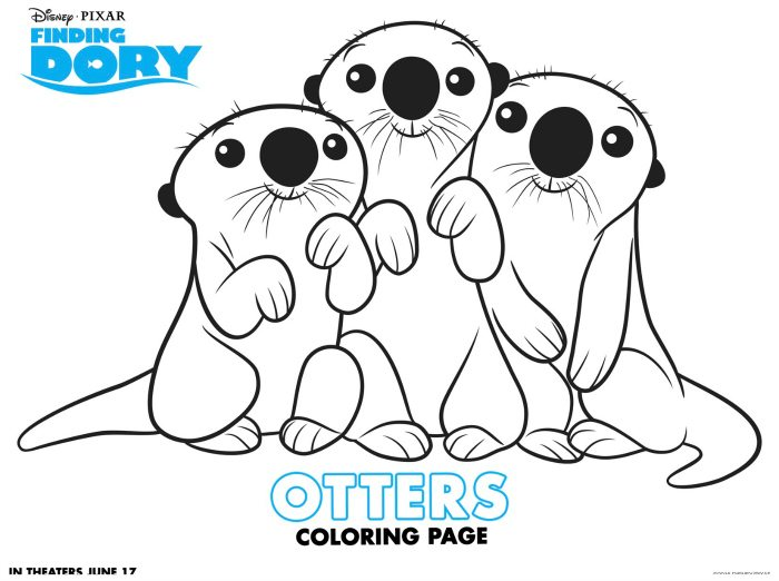 Disney Finding Dory Otters Coloring Page | Mama Likes This