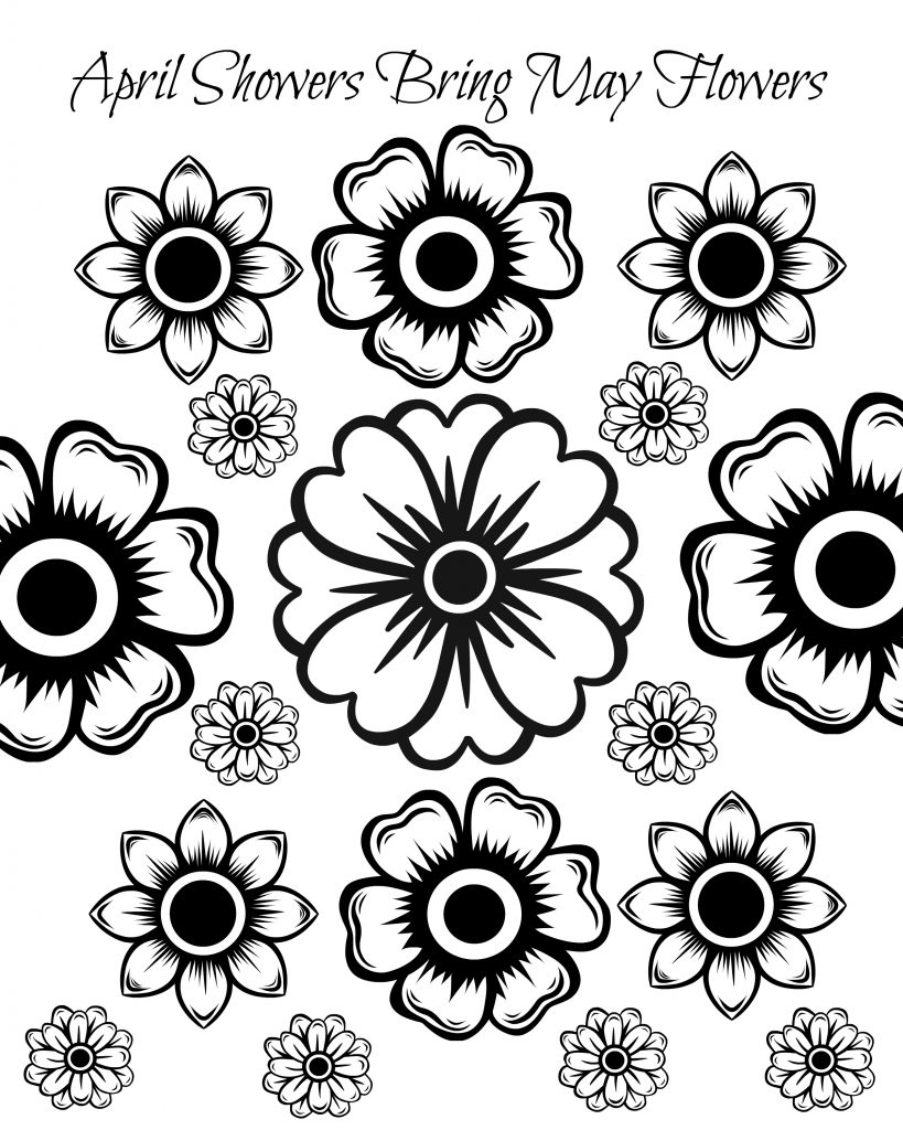 Free coloring pages for may - Free Printable May Flowers Adult Coloring Page