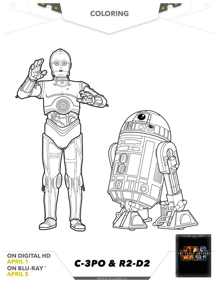 Star Wars C-3PO and R2-D2 Coloring Page | Mama Likes This