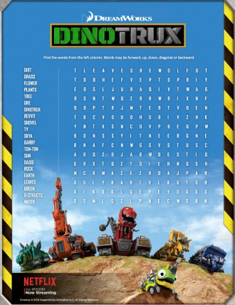 Free Dinotrux Printable Word Search