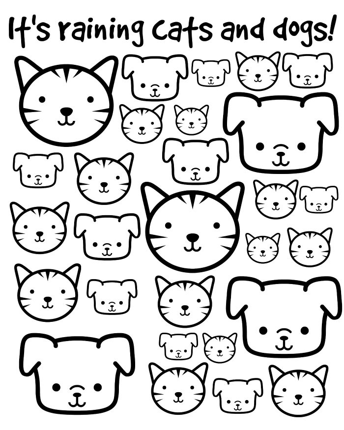 Its Raining Cats And Dogs Printable Coloring Page