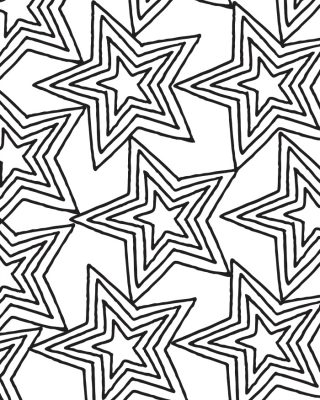 Printable Star Pattern Coloring Page for Adults and Kids