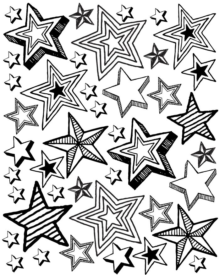 Free Printable Star Party Coloring Page