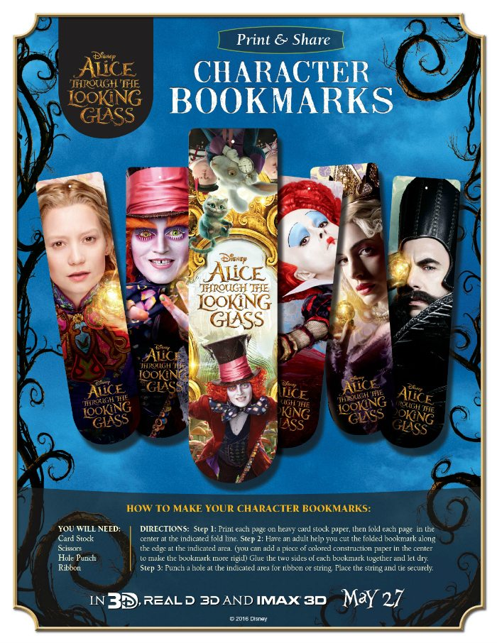 Free Alice Through The Looking Glass Bookmarks