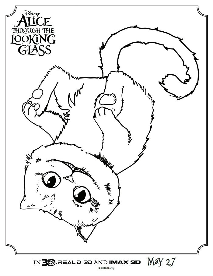 Alice Through The Looking Glass Cheshire Cat Coloring Page Mama