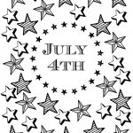 July 4th Coloring Page with Patriotic Stars and Stripes