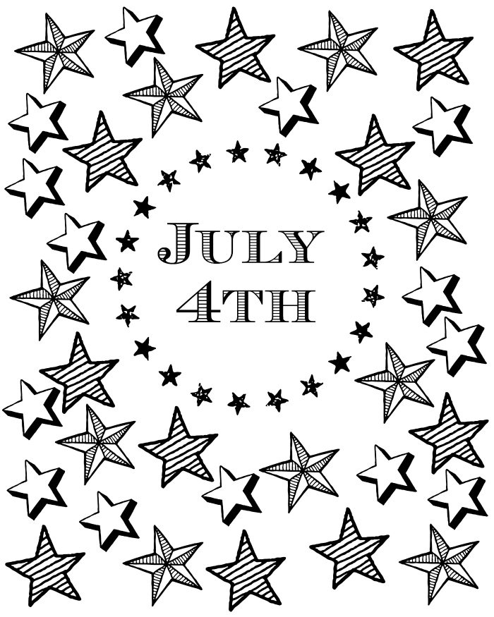 Free Printable July 4th Coloring Page with Patriotic Stars and Stripes - 4th of July Party Decor