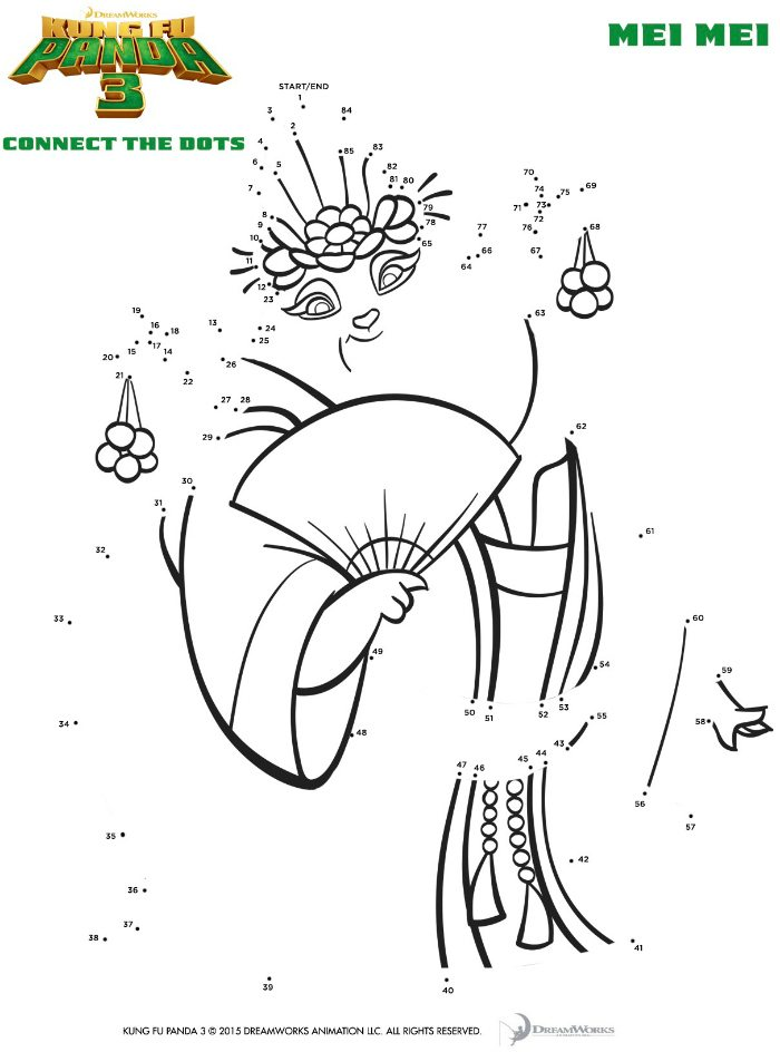 Kung Fu Panda Mei Connect The Dots Coloring Page
