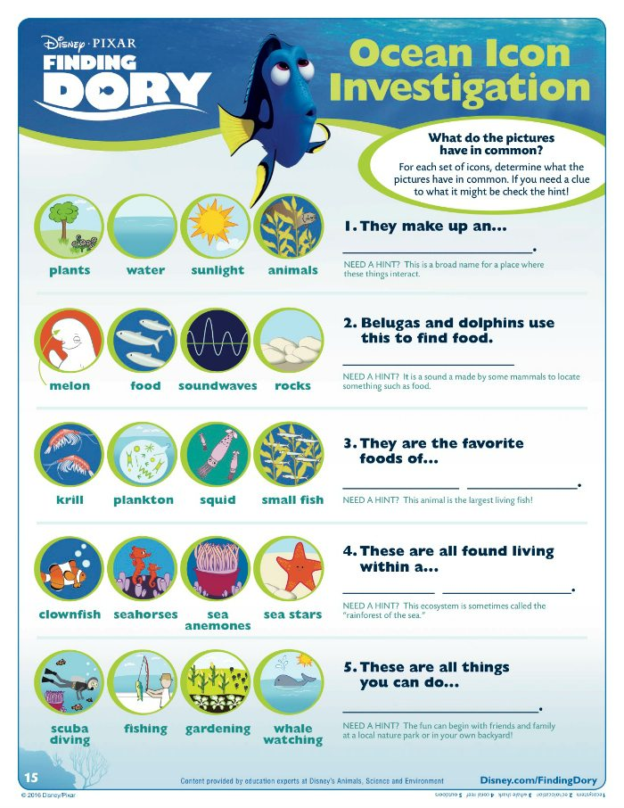 Finding Dory Ocean Investigation Activity Page
