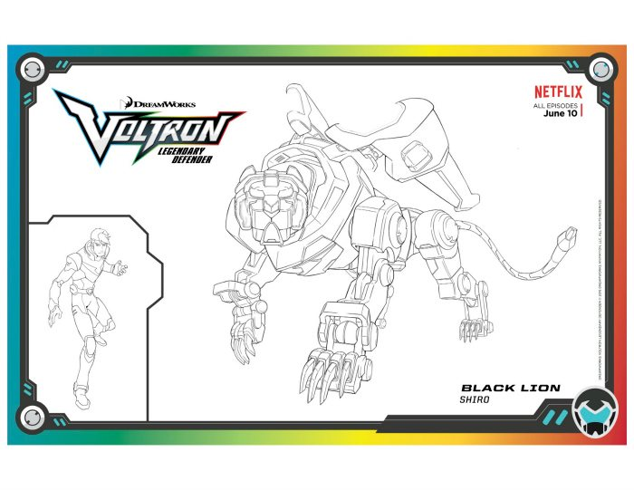 Voltron Legendary Defender In Coloring Pages: Voltron Black Lion Coloring Page