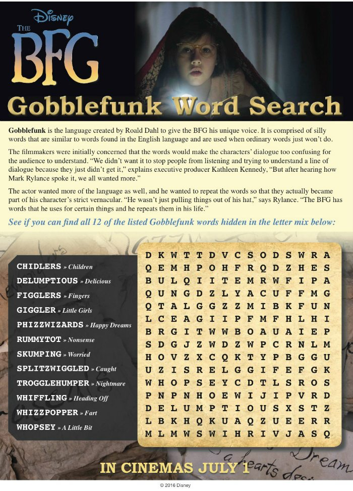 Disney The BFG Gobblefunk Word Search