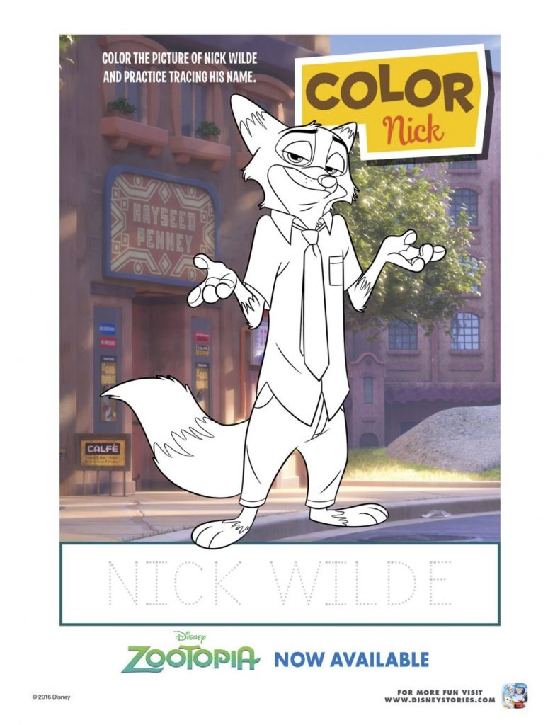 Zootopia Nick Wilde Coloring Page
