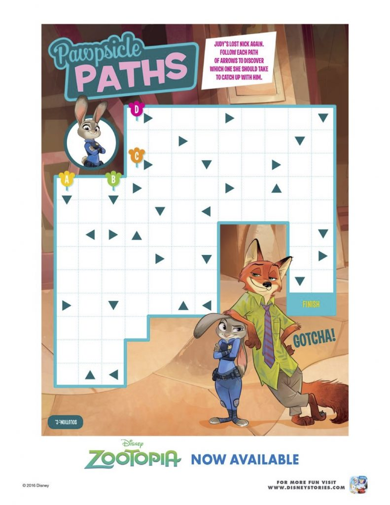 Zootopia Pawpsicle Paths Activity Page