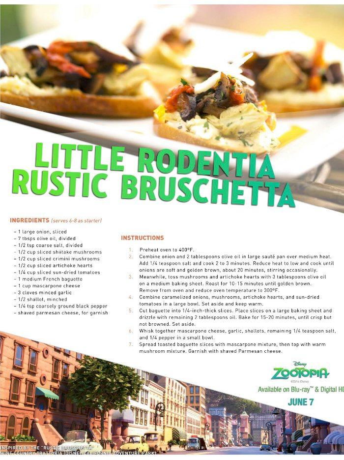 Disney Zootopia Little Rodentia Rustic Bruschetta Recipe
