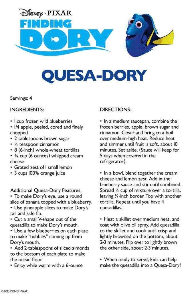 Finding Dory Quesa-Dory Recipe