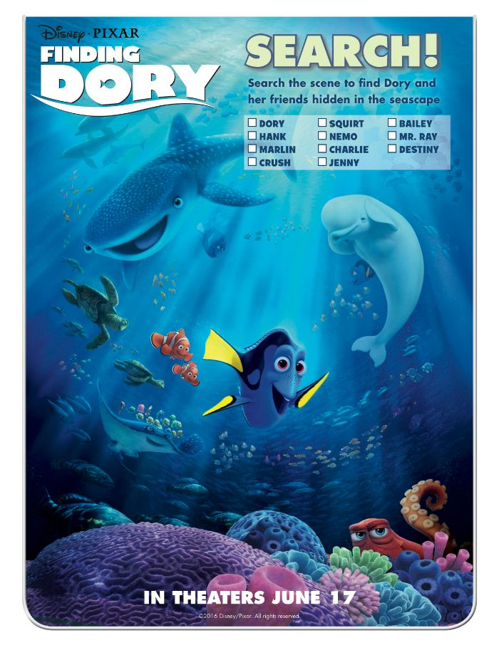 Disney Finding Dory Search Activity Page