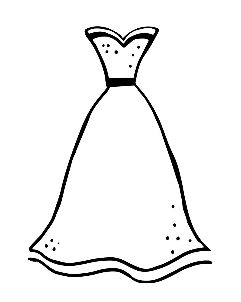 printable formal dress coloring page
