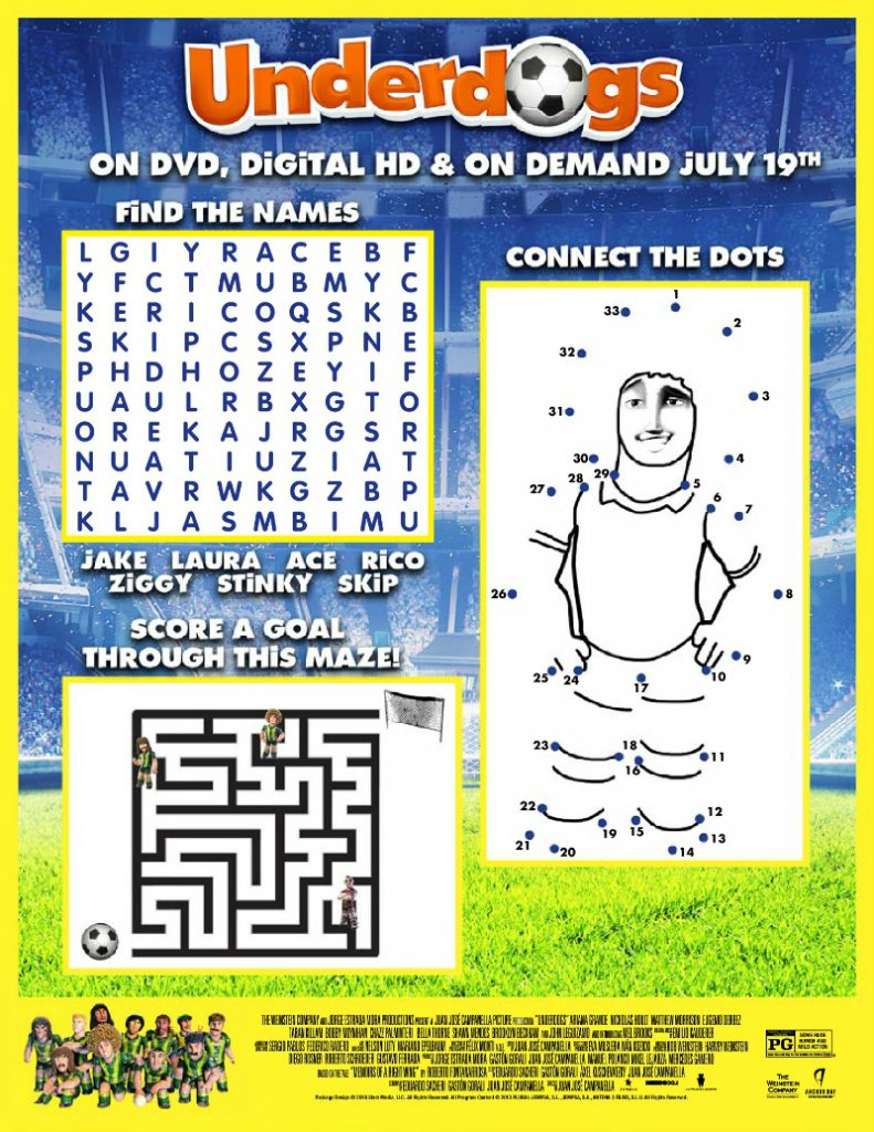 Free Underdogs Puzzle Activity Page