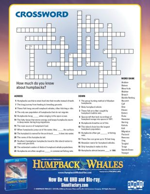 Humpback Whales Printable Crossword Activity Page
