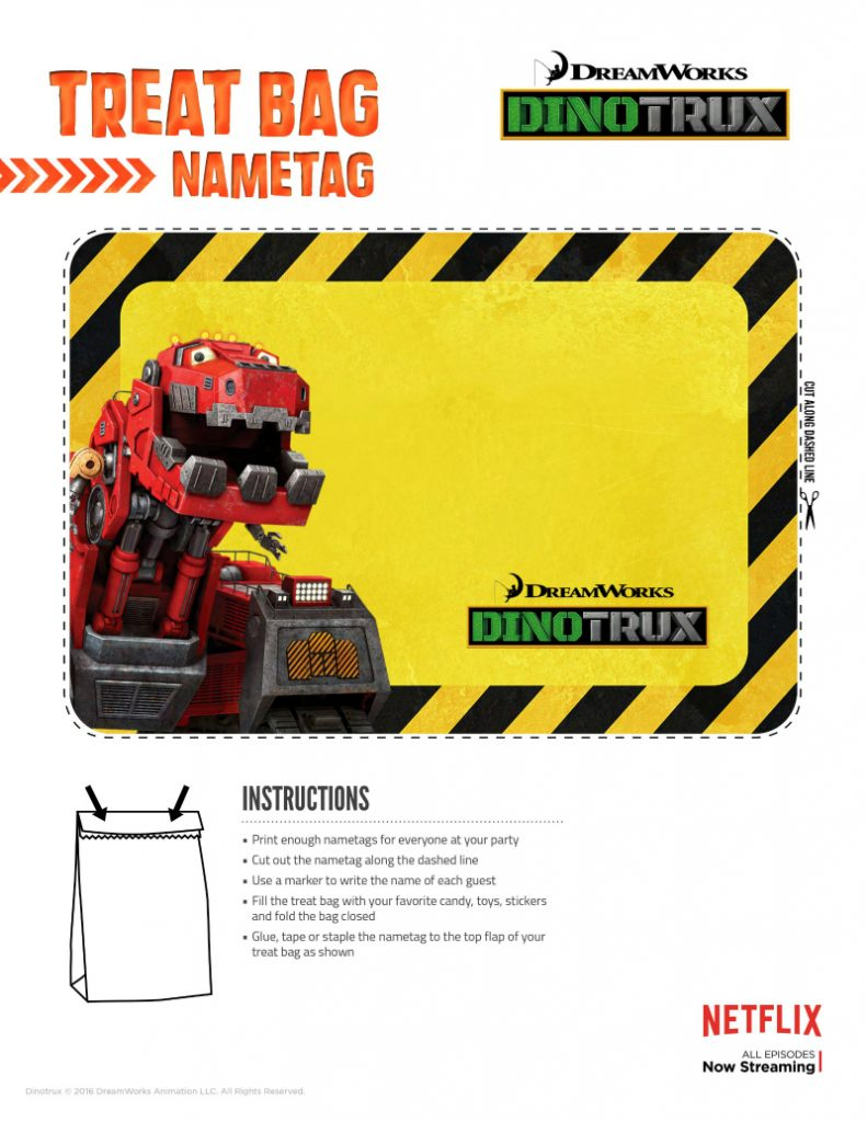 Dinotrux Printable Treat Bag Name