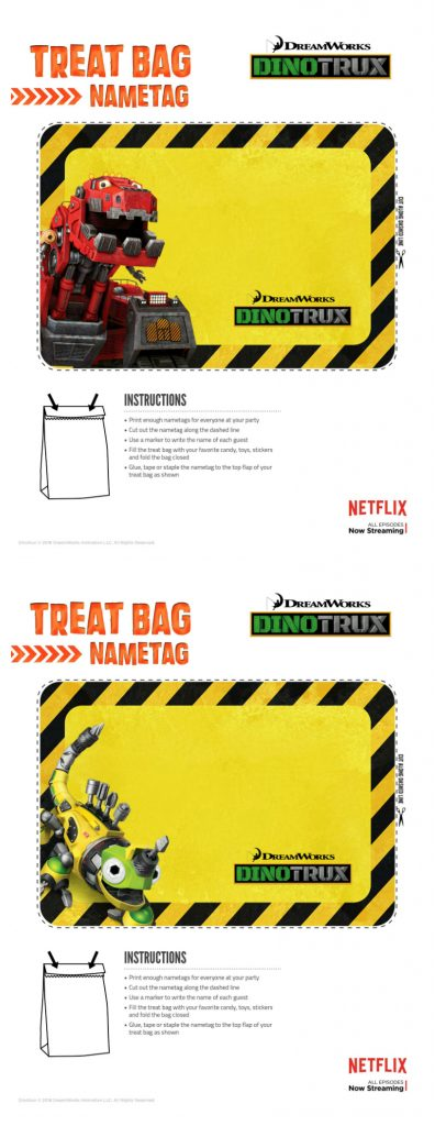 Dinotrux Printable Treat Bag Name Tag Labels