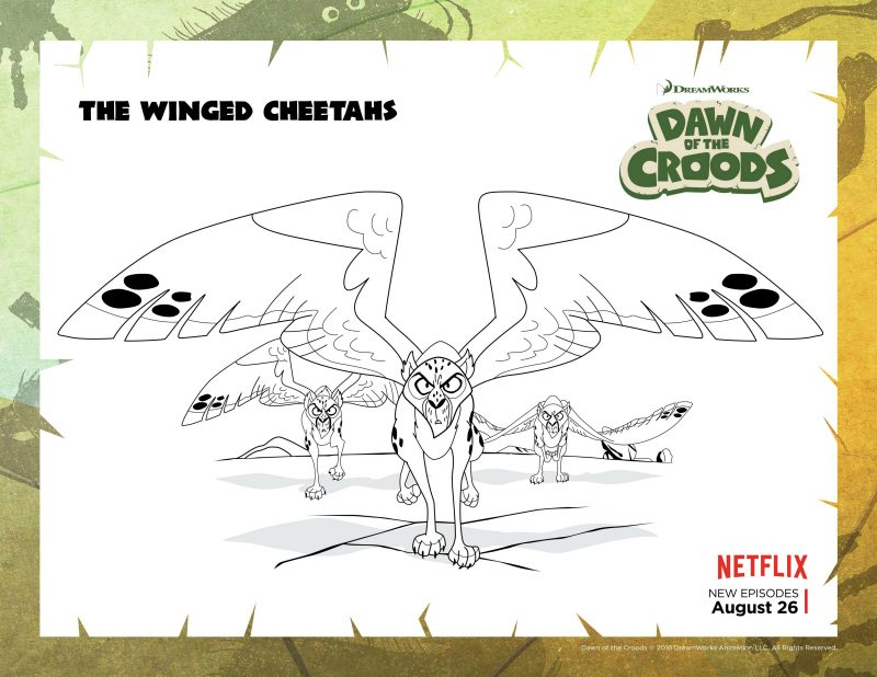 Dawn of The Croods Winged Cheetahs Coloring Page