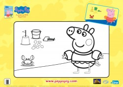 Peppa Pig Beach Day Coloring Page