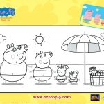 Peppa Pig Family Beach Day Coloring Page