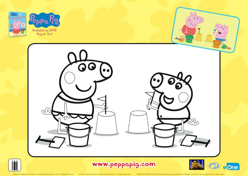 Peppa Pig Sandcastle Coloring Page