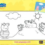 Peppa Pig Beach Vacation Coloring Page