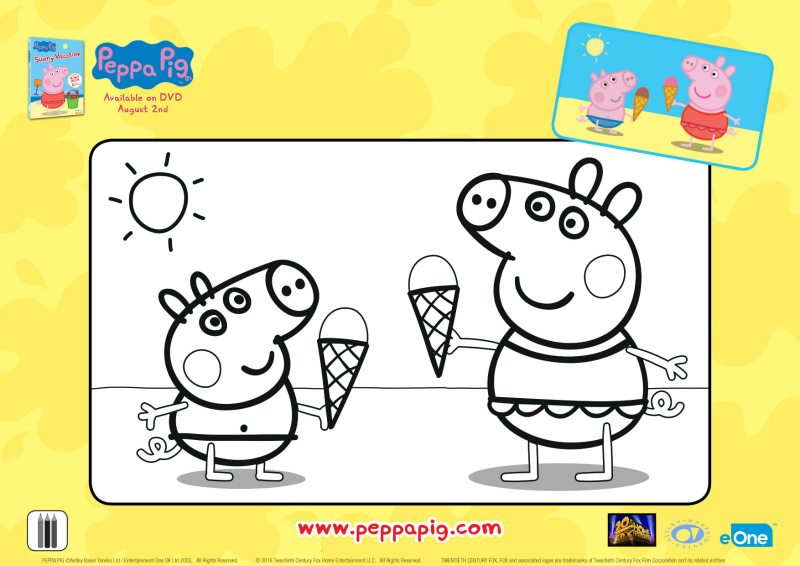 Peppa Pig Ice Cream Cones Coloring Page