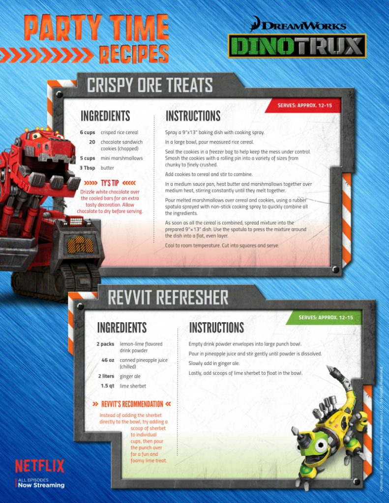 Netflix Dinotrux Party Time Recipes