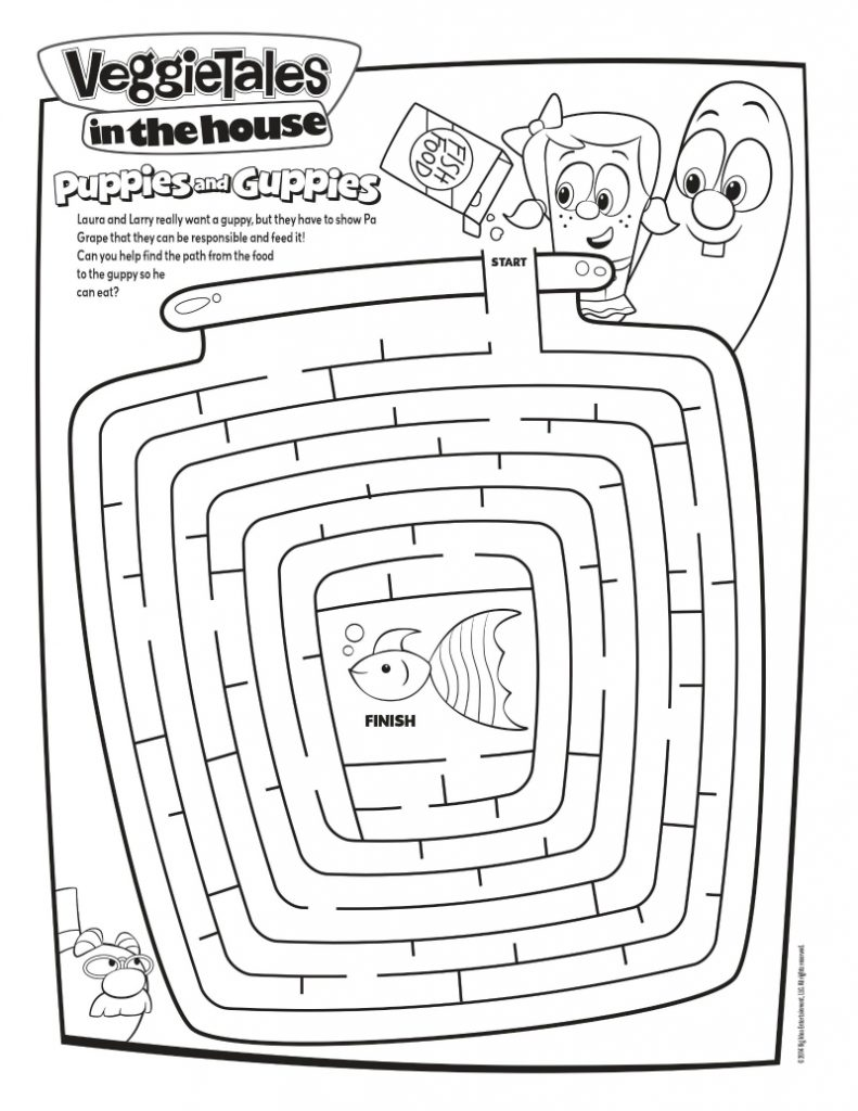 Veggie tales maze activity page mama likes this for Veggie tales printable coloring pages